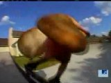 Bam Margera skates in hot dog costume
