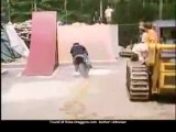 moto jump over foam pit. ouch