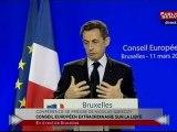 EVENEMENT,Discours de Nicolas Sarkozy suite au Sommet Européen sur la Libye