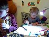 20110308 Nico et Romain dessinent Merignac