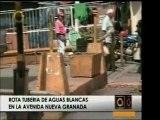 En la Avenida Nueva Granada un tubo de aguas blancas se romp