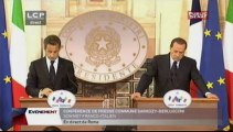 EVENEMENT,Conférence de presse de Nicolas Sarkozy et Silvio Berlusconi