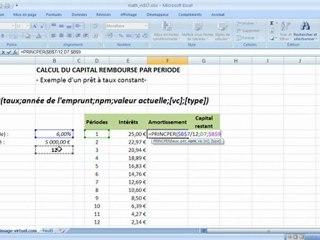 Visionnez les Cours Vidéo de Calcul du capital rembours� dans Excel