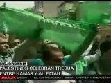Palestinos celebran tregua entre Hamas y Al Fatah