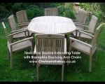 Oval Teak Extending Double Leaf Table Garden Furniture Set with Brampton Stacking Chairs