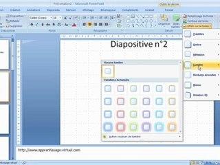 Visionnez les Cours Vidéo de Param�tres des Objets dessin�s dans Microsoft Powerpoint