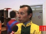 """Vainqueur de la Poule d'essai des Poulains, Tin Horse (N.12) a obtenu son ticket pour le Prix du Jockey Club, quinté du dimanche 5 mai juin à Chantilly. La victoire, """"un objectif envisageable"""" pour son jockey Thierry Jarnet."""