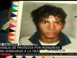 Manifestantes hondureños protestan en contra de la OEA