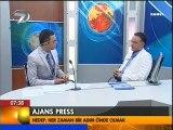 Ajans Press Yönetim Kurulu Başkanı Mehmet Ali Özkan, Kanal 7'de canlı olarak yayınlanan Sabah programına konuk oldu. 21.06.2011