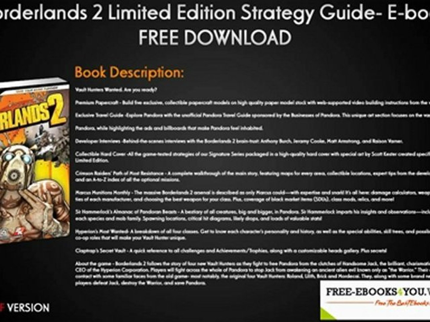 Borderlands 2 Limited Edition Strategy Guide- Ebook Free Download!