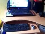 """transformation d'un PC portable multimedia/Gamer Acer aspire 7540G a l'écran H-S en PC de bureau avec écran LCD 19"""" ,Systeme de son 2.1,clavier et souris gamer"""