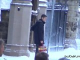 "The Dark Knight RIses - Joseph Gordon-Levitt ""Filming Scene in Snow"""