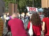 Les anti-corridas ont manifesté devant les arènes de l'espace Jean Cau où se tenait la dernière corrida de la Feria de Carcassonne