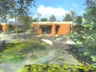 Résidence Contemporaine Bio Climatique et Ecologique en Ossature Bois en Corse ( Solaire BBC Inforgaphie 3D Synthese )