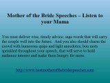 Mother of the bride speeches - Several helpful hints and innovations