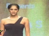 Hot babe Walks On ramp In SEXY Green Long Gown IIJW 2011 Fashion Show Third Day