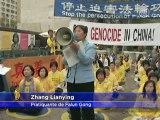 Rassemblement contre la déportation des pratiquants de Falun Gong