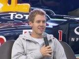 Formula 1 2011 Red Bull Racing World Champion Sebastian Vettel at Red Bull Racing, UK Red Bull Racing Factory