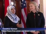 Yemeni Nobel prize winner welcomed by Clinton