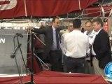 David Douillet en visite sur le 60 pieds DCNS 1000 avec Marc Thiercelin et Luc Alphand