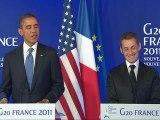 """Le président américain a félicité Carla et Nicolas Sarkozy... en plaisantant : """"J'ai dit à Nicolas Sarkozy en arrivant que j'étais confiant que Giulia avait hérité des traits de sa mère plutôt que de ceux de son père, ce qui est une très bonne"""
