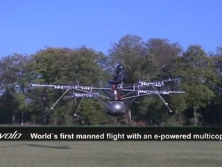 Manned flight with an electric multicopter