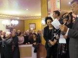 Marie-Rose Guarnieri reçoit ses invités avant la REMISE du 14e PRIX WEPLER LA POSTE (Paris, 18e) le 14 novembre 2011 (par caphi)