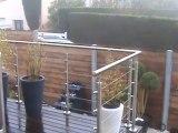 Terrasse en bois exotique jardin zen et fontaine