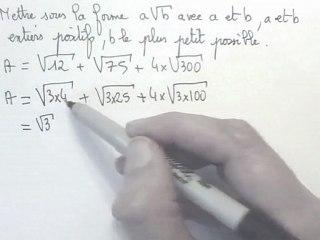 écrire une racines carrée sous la forme a √b , a et b entiers et b le plus petit possible