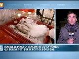 """Marine Le Pen à la rencontre de """"la France qui se lève tôt"""" au port de Boulogne-sur-Mer"""