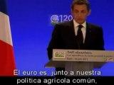 """Sarkozy: """"Sin euro no hay Europa y sin Europa no hay paz"""""""