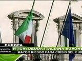 Fitch: Italia, deuda de mayor riesgo para crisis del euro