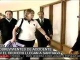 Llegan a Santiago, chilenos sobrevivientes de naufragio