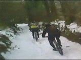 VTT dans la neige en Suisse Normande