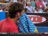 Australian Open 2012 - 4 th Round - Federer vs Tomic - Amazing Half Volley Winner (HD)