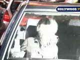 Kirsten Dunst and Friend Trying to Leave Parking Lot in Hollywood.