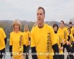 TELETHON 2011 : Flashmob sur le pont d'Avignon avec EOLE-RES (énergies renouvelables) (Vaucluse-84)