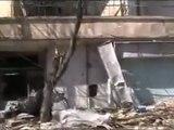 فري برس   حمص باباعمرو اثار القصف الصاروخي على الحي 20 2 2012