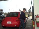Being Silly and crazy with a New Bettle Bug car!!!! Getting gas at $3.61
