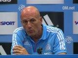 Conférence de presse Olympique de Marseille - Evian TG FC : Elie BAUP (OM) - Pascal DUPRAZ (ETG) - saison 2012/2013