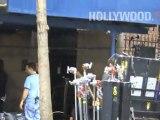 Ed Westwick shooting Gossip Girl in New York