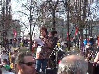 Manifestation nationale pour l'emploi 24 mars 2012 à Paris : prise de parole d'Annick Coupé