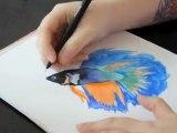 Peinture aquarelle poisson (betta / combattant)