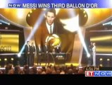 Football Lionel Messi wins Ballon d'Or for third time