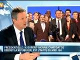 Le candidat Dupont-Aignan parle sécurité sur BFMTV