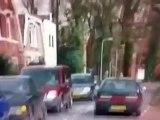 Stupid blonde crashes car in just restored classic car