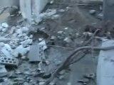 فري برس حمص مكان سقوط القذائف في أحد منازل حي الخالدية  والدمار الذي خلفته بحمص 16 4 2012 Homs