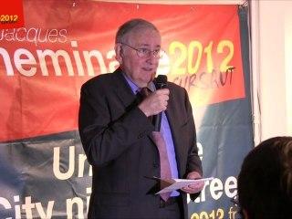Jacques Cheminade s'adresse aux militants le soir du premier tour de l'élection présidentielle