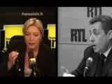 """Marine Le Pen accuse Sarkozy de """"lui faire les poches"""""""