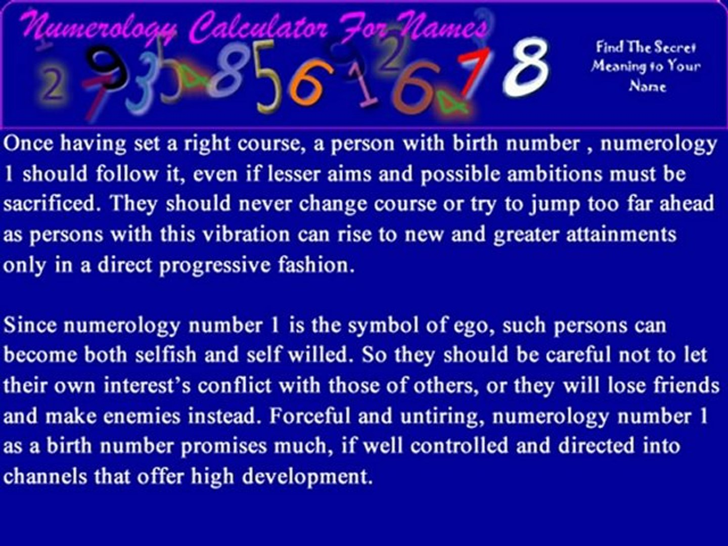 Life Path Number 1- Numerology Calculator For Names